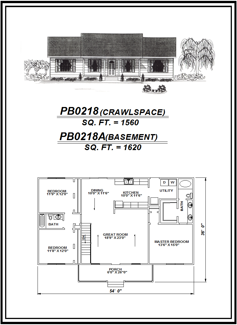 picture of house plan #PB0218 and #PB0218A