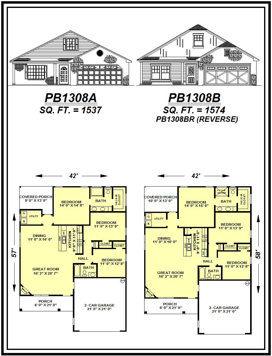 picture of house plan #PB1308A and #PB1308B