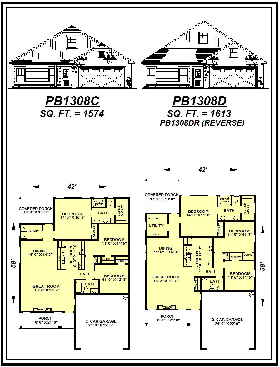 picture of house plan #PB1308C and #PB1308D