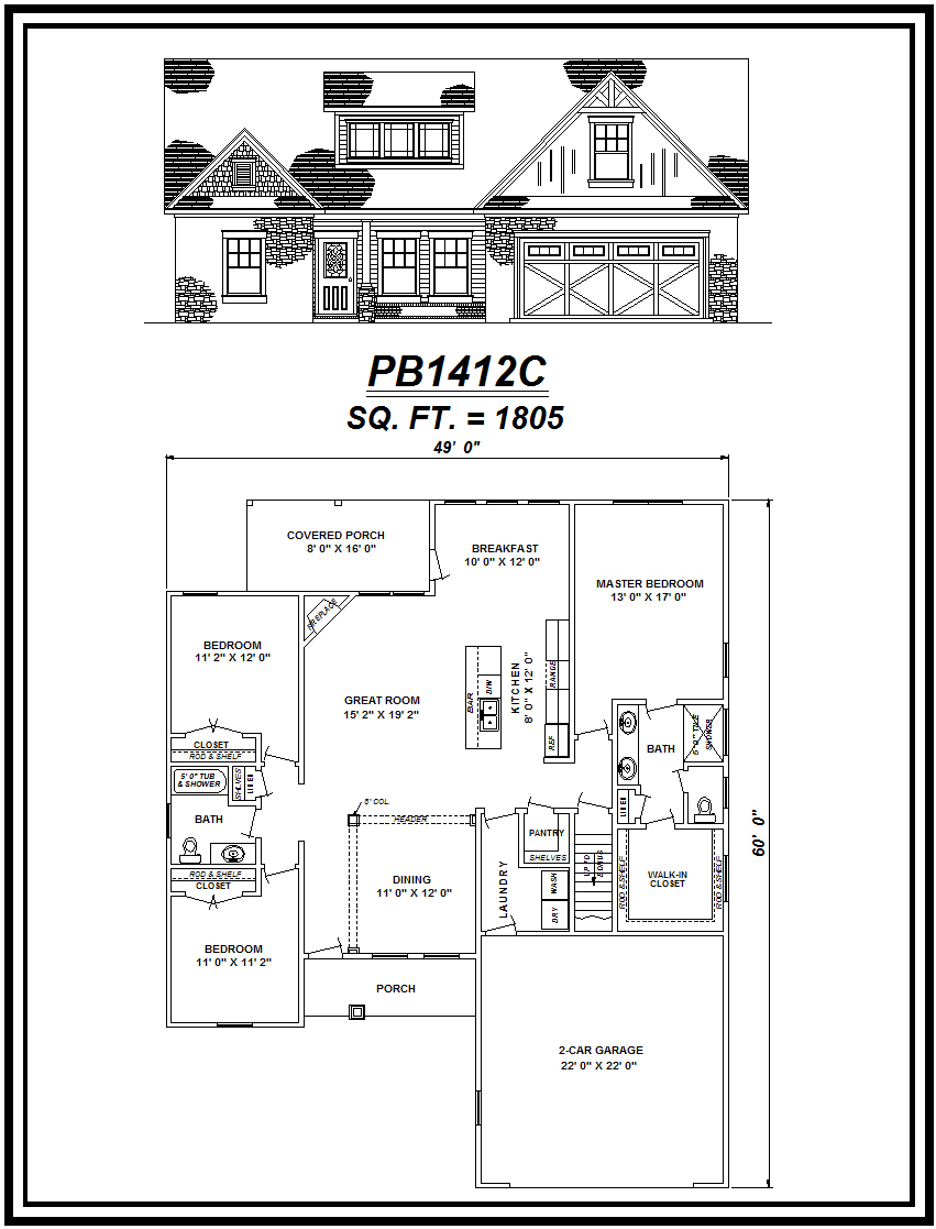 picture of house plan #PB1412C
