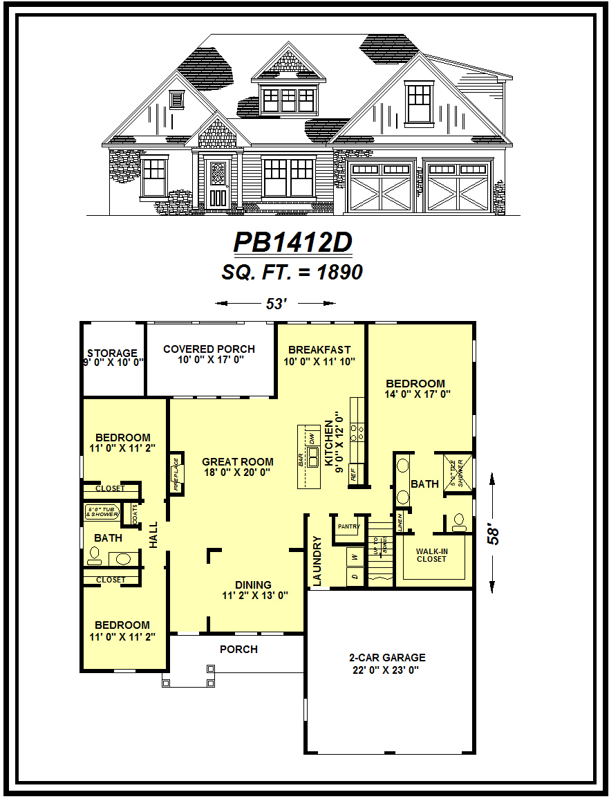 picture of house plan #PB1412D