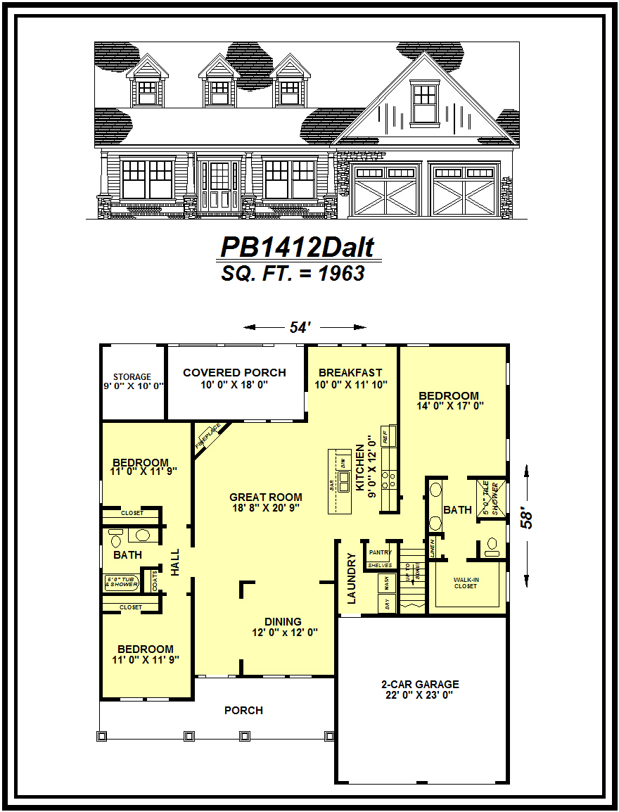 picture of house plan #PB1412Dalt