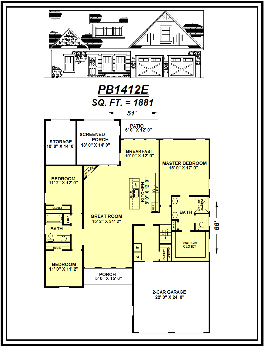 picture of house plan #PB1412E