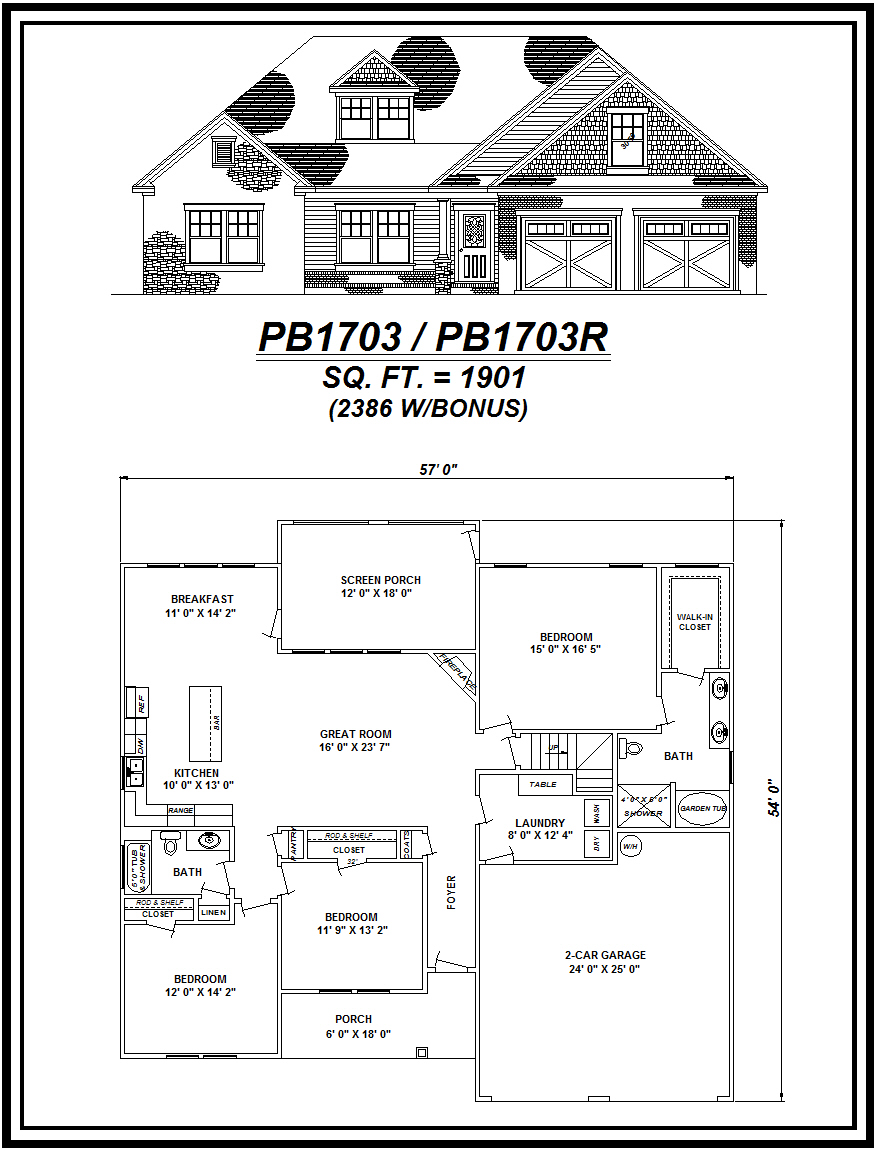 picture of house plan #PB1703 and #PB1703R