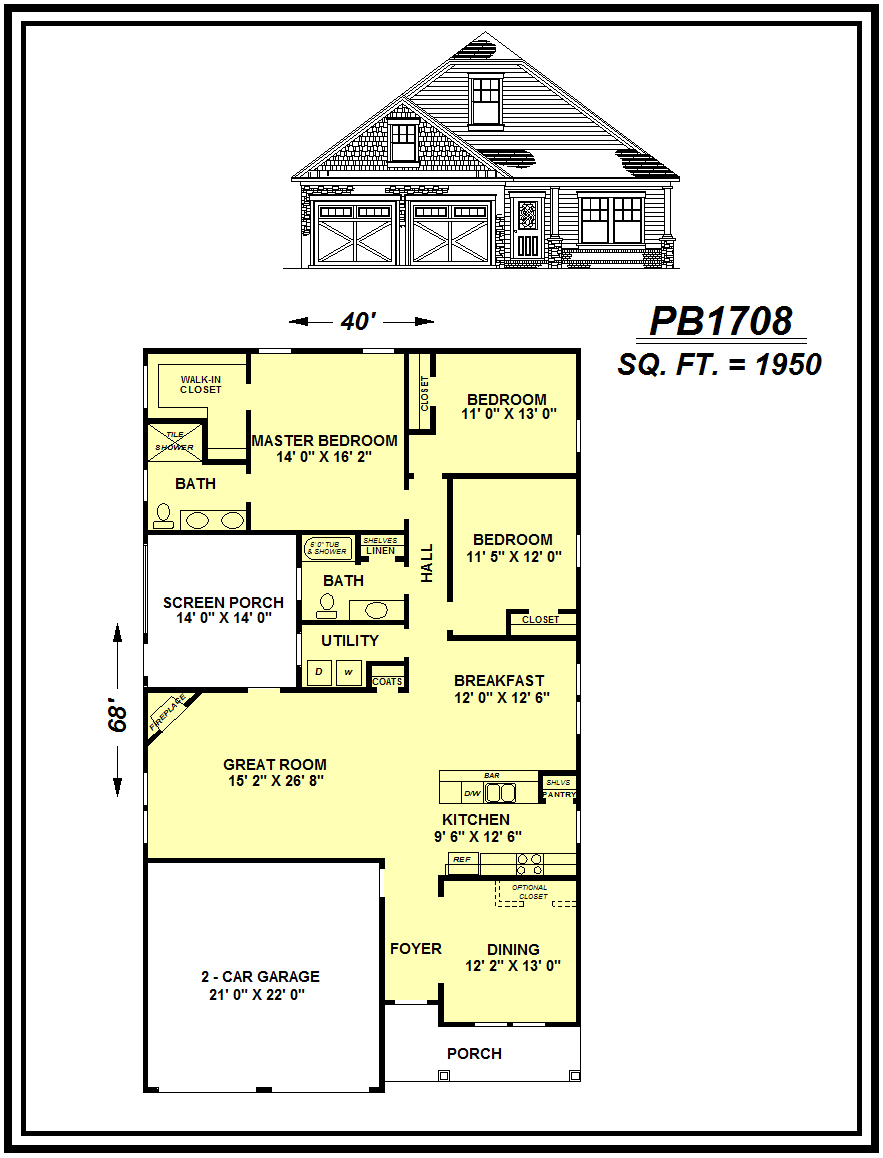 picture of house plan #PB1708
