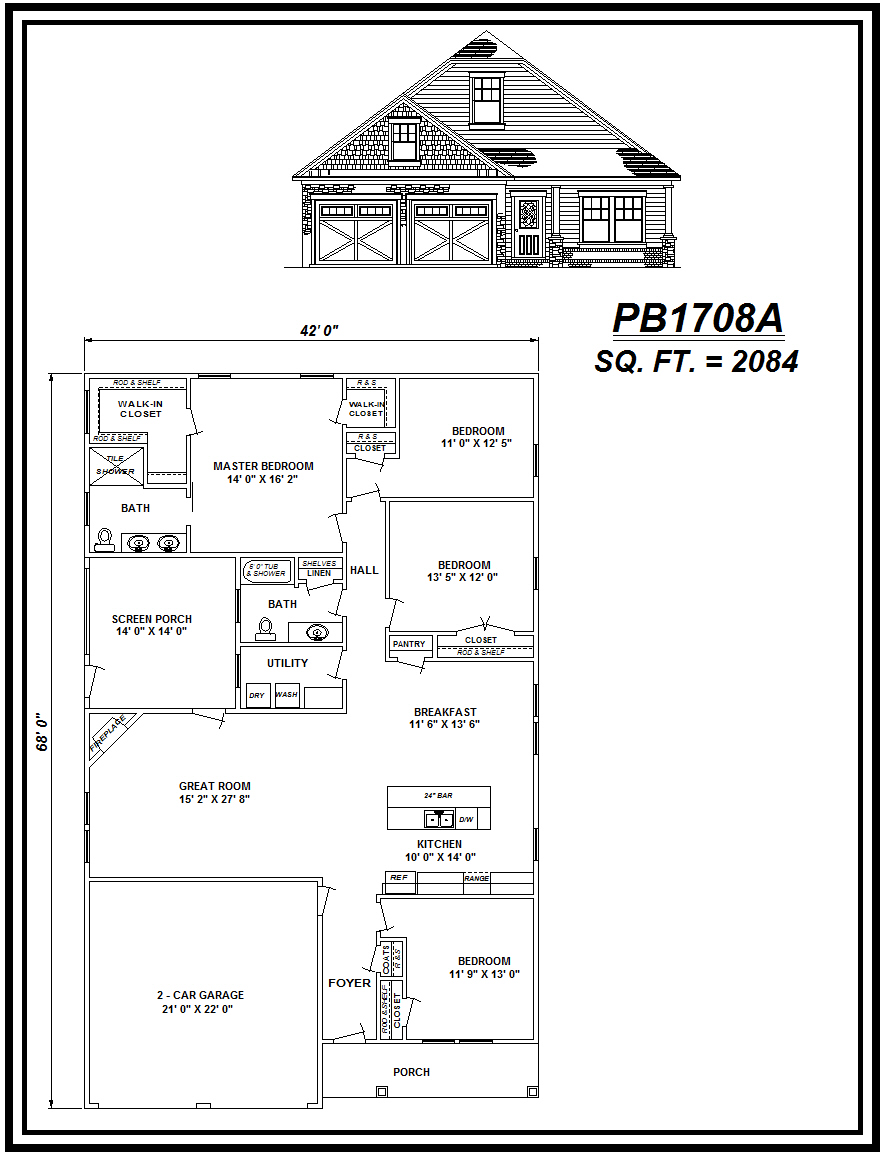 picture of house plan #PB1708A