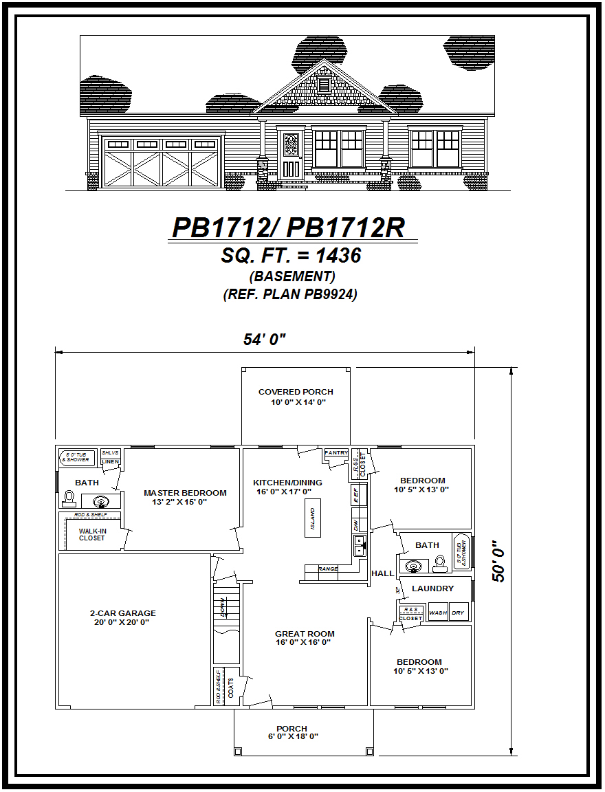 picture of house plan #PB1712/PB1712R