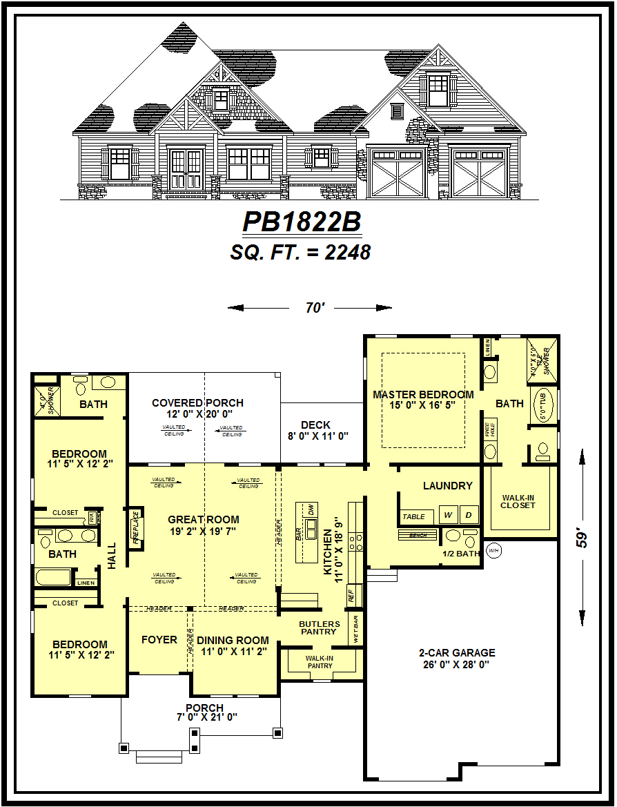picture of house plan #PB1822B