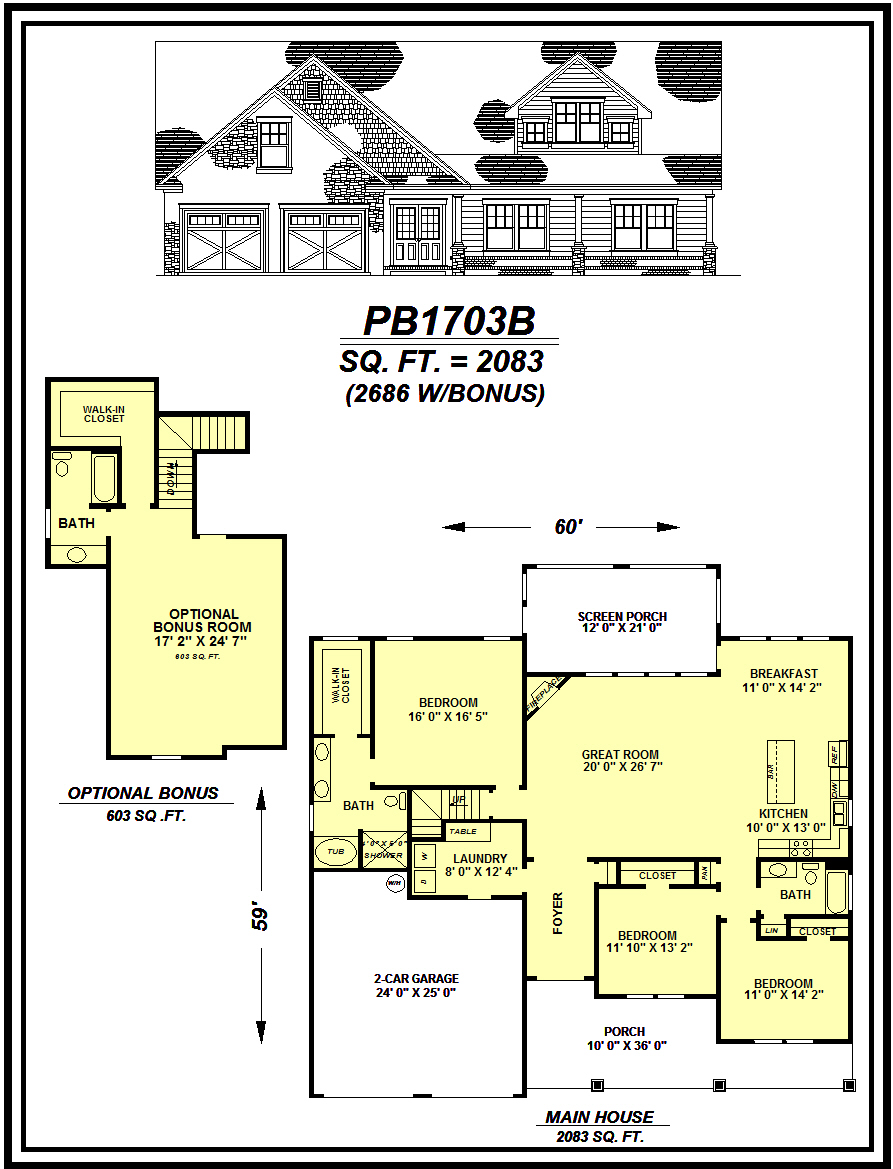 picture of house plan #PB1703B